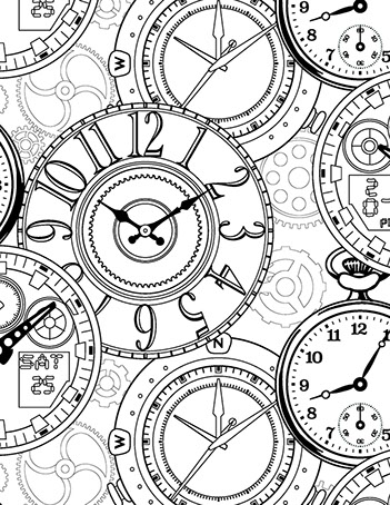 clock coloring page - steampunk clock pages coloring pages